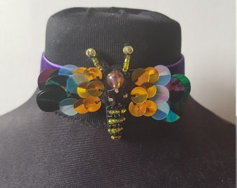 Purple Velvet Bumble Bee Choker
