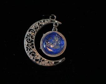 Silver colour moon pendant
