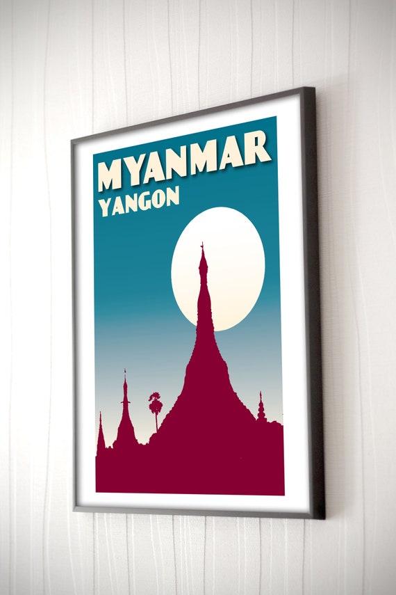Vintage poster Myanmar Yangon Schwedagon Retro Art Poster 30x40cm Wall Art  decor Travel Gift Print Moon Wat Buddha Night Blue Man Birthday