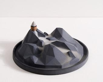 Concrete backflow incense holder - Valley of Fog   Incense Waterfall Fountain   Incense burner   Modern minimalist decor   Gift Present Him