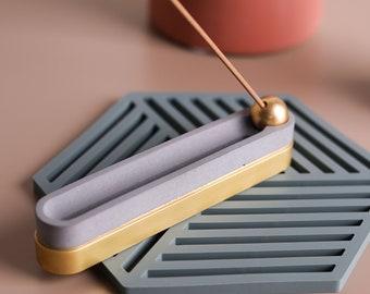 Solid bronze & concrete incense holder - Qi   Meditation Zen Mindfulness   Incense burner   Modern minimalist home decor   Birthday Present