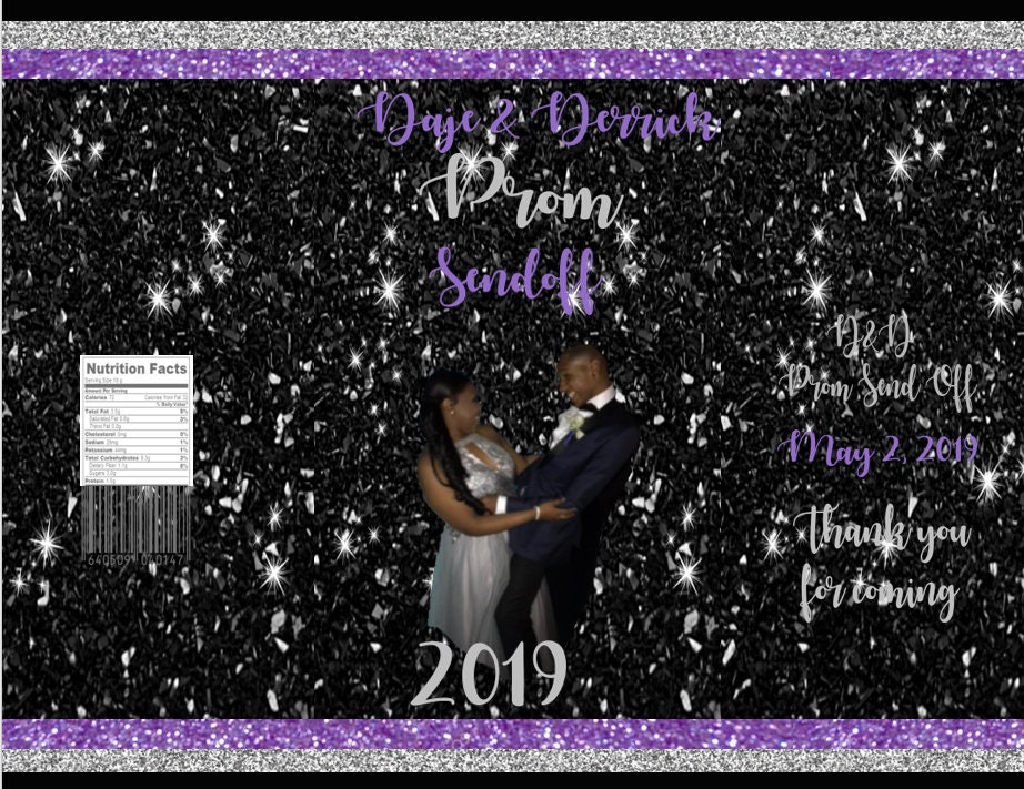Black Purple and Silver Prom Chips