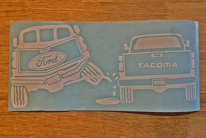 Personalize your car with the Ford Pee Sticker on Tacoma designed by StickerAB