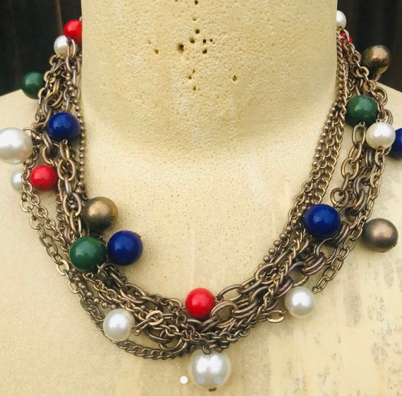 Vintage multi-chain ball bead necklace