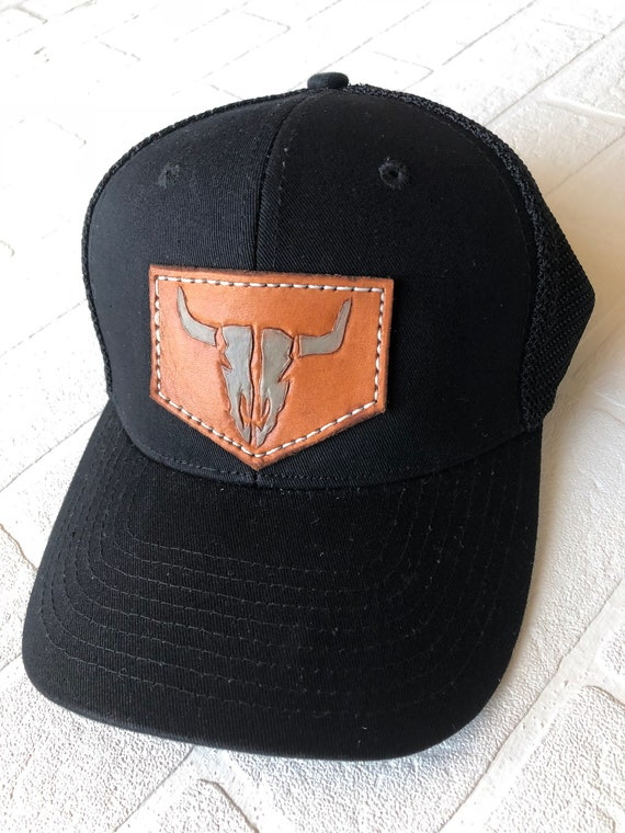 9c59e5ab908 Custom Baseball Cap with Cowskull Leather Patch