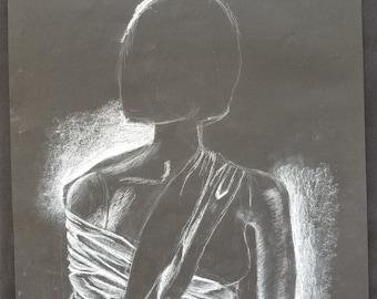 Original White Charcoal Drawing