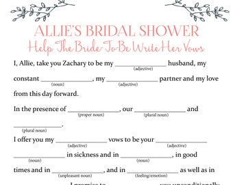 customizable bridal shower mad libs game