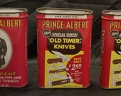 Three Vintage R.J Reynolds Prince Albert Tobacco Tin w Ulster quot Old Timer quot Knives Ad