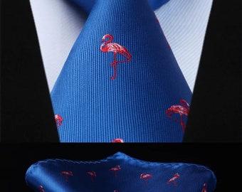 Men fashion Tie with flamingo