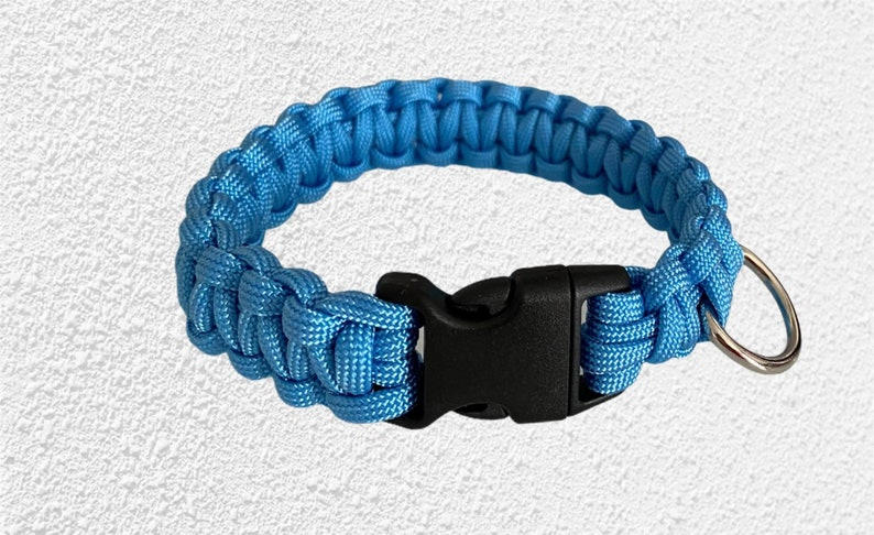 Baby Blue Paracord Cobra Dog Collar made to order