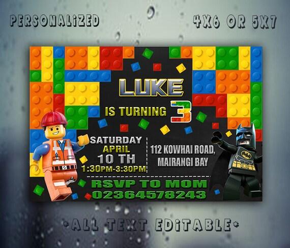 Lego Invitation Birthday Party Card