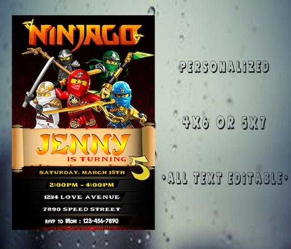 Ninjago Zaproszenie Urodziny Ninjago Ninjago Strony Ninjago Etsy