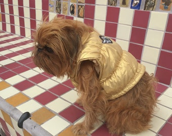 LULU GRIFFON Puppy Couture   Gold Metllaic Beach Jacket