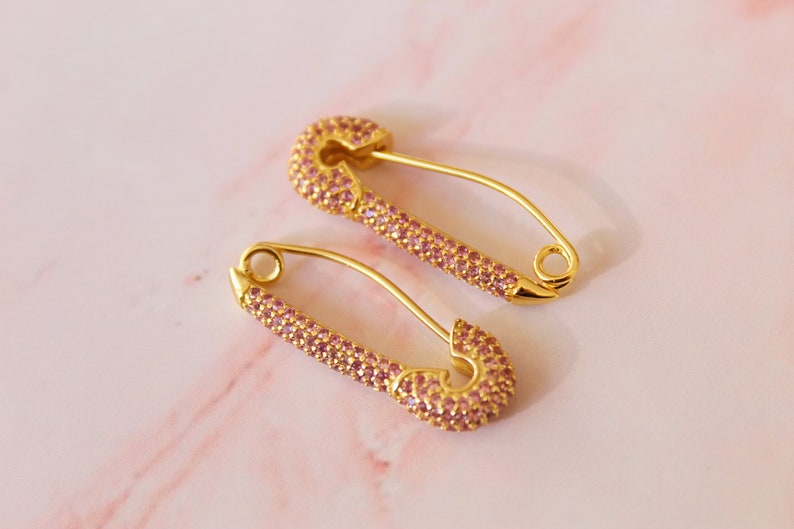emerald ruby pave hoops 5 options SAFETY PIN hoops multicolors gold hoops gold earrings safety pin earrings cz rainbow huggie hoops