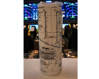 You Pick the Airport Aviation Airport Diagram Chart 20oz Tumbler or Water bottle mug gift.  Pilot airplane gift.  Two Colors.