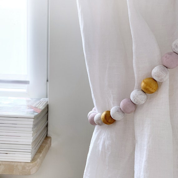 2 Girl Bedroom Curtain Tiebacks Gold And Pale Pink Curtains Etsy