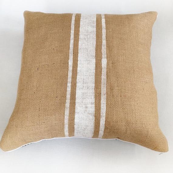 or custom color Custom ivory burlap grain sack stripes BLACK pillow cover