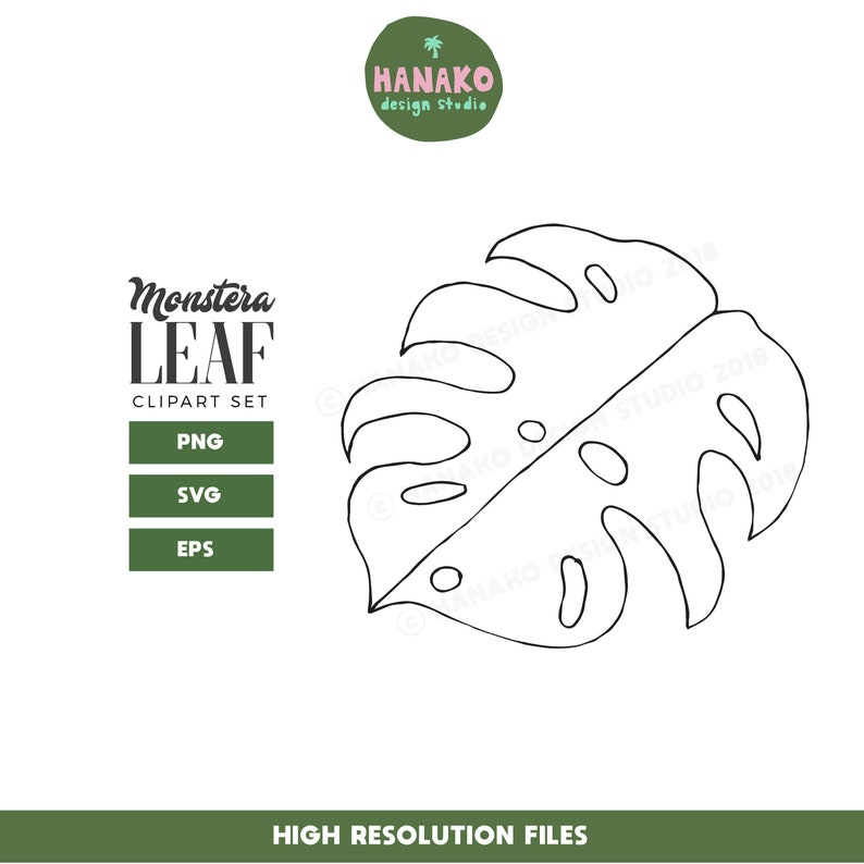 Monstera Leaf Svg Tropical Leaves Clipart Set Palm Leaves Etsy