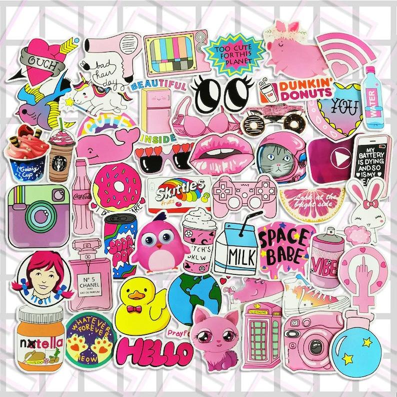 Tumblr Girl Pink Power Sticker Pack Cute Vinyl Laptop Stickers Planner Stickers Tumblr Aesthetic Meme Skateboard Sticker Bomb Pack