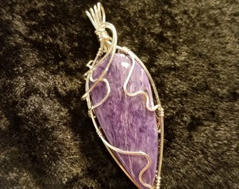 Handmade Deep Purple Charoite Sterling Silver Wire Wrapped