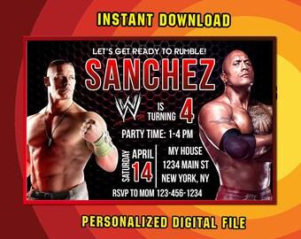 Wwe Invitation,WWE Party Invitation,WWe Birthday Party,WWe Invitation Party,WWe  Birthday,WWe Birthday Invitation,WWE Printable F0021