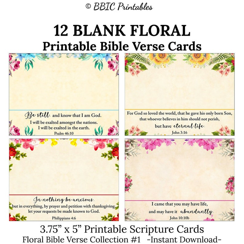 image relating to Printable Bible Verse Cards referred to as 12 Blank Floral Printable Bible Verse Playing cards -C1- Instantaneous Obtain, 3.75x5 Floral Bouquets Blank Prayer Encouragement Be aware Reputation Card Scripture