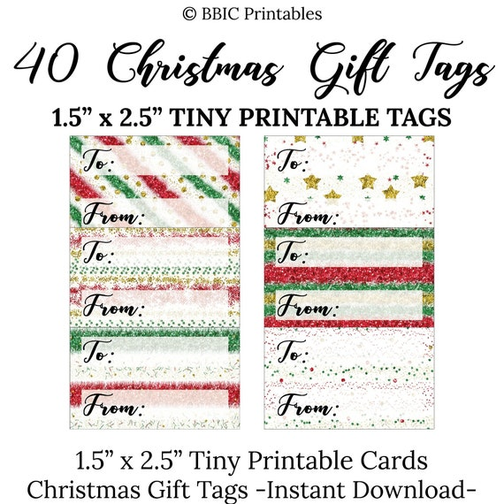 40 Tiny Christmas Gift Tags Digital Download Small Tiny Red Etsy
