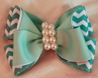 Chevron Two Colored Hair Bow