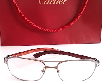 e3c294e792a0 Authentic Cartier Glasses Bubinga Wood Platinum