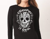 Halloween Creepin 39 it Real Unisex Long Sleeve Fitted Crew