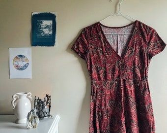 Red Paisley Button Down Dress