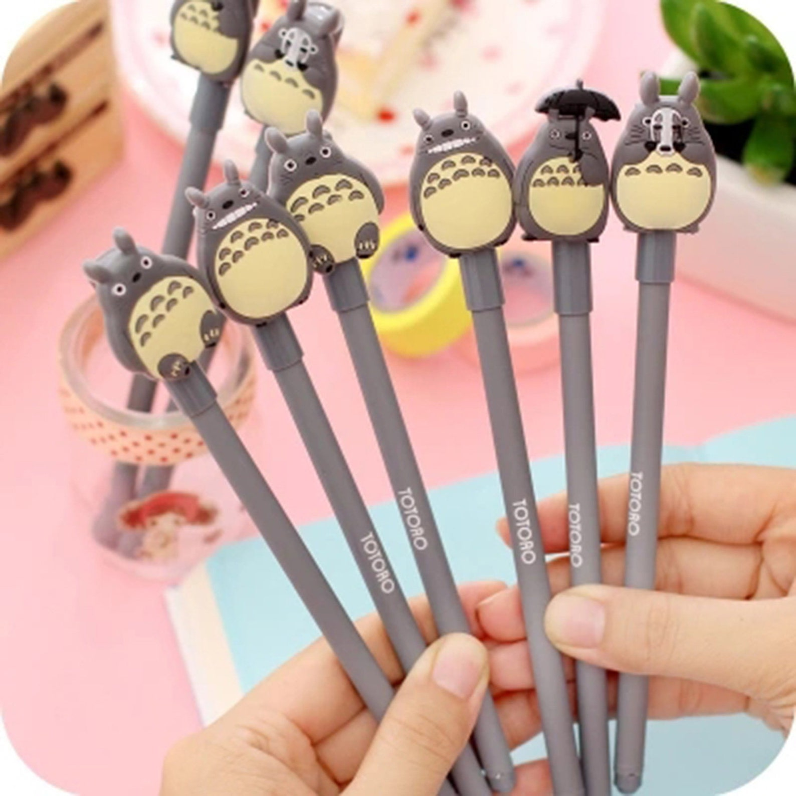 Cartoon Gel Pens Cute Pen, Black totoro Pen Set,