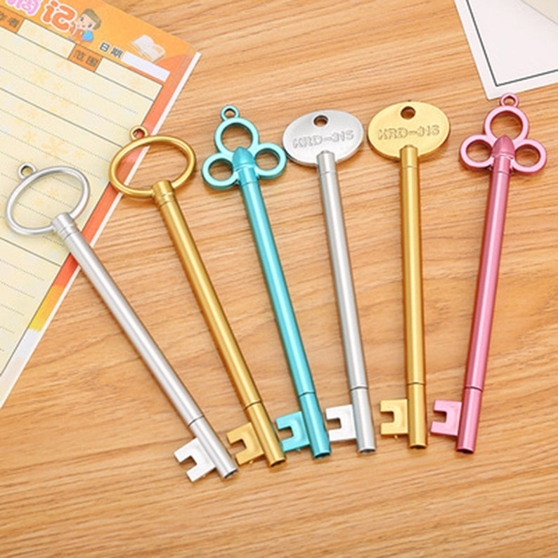 2Pc Key Shape Gel Pen Black Ink Stationery Sign Write Tool School Office Supply