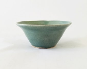 Green Handthrown Ceramic Bowl - dish
