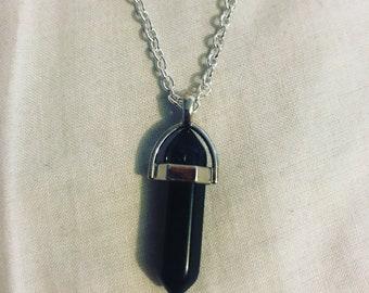 Black Obsidian Crystal Necklace