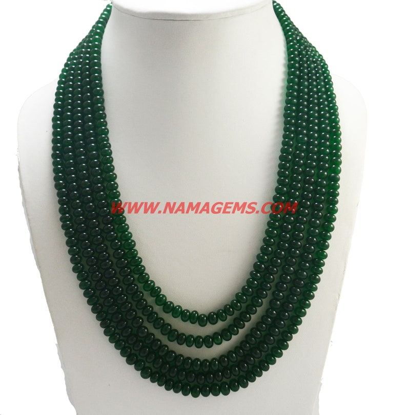 String Necklace for Women Emerald Quartz Facetted Rondelle Beads 5