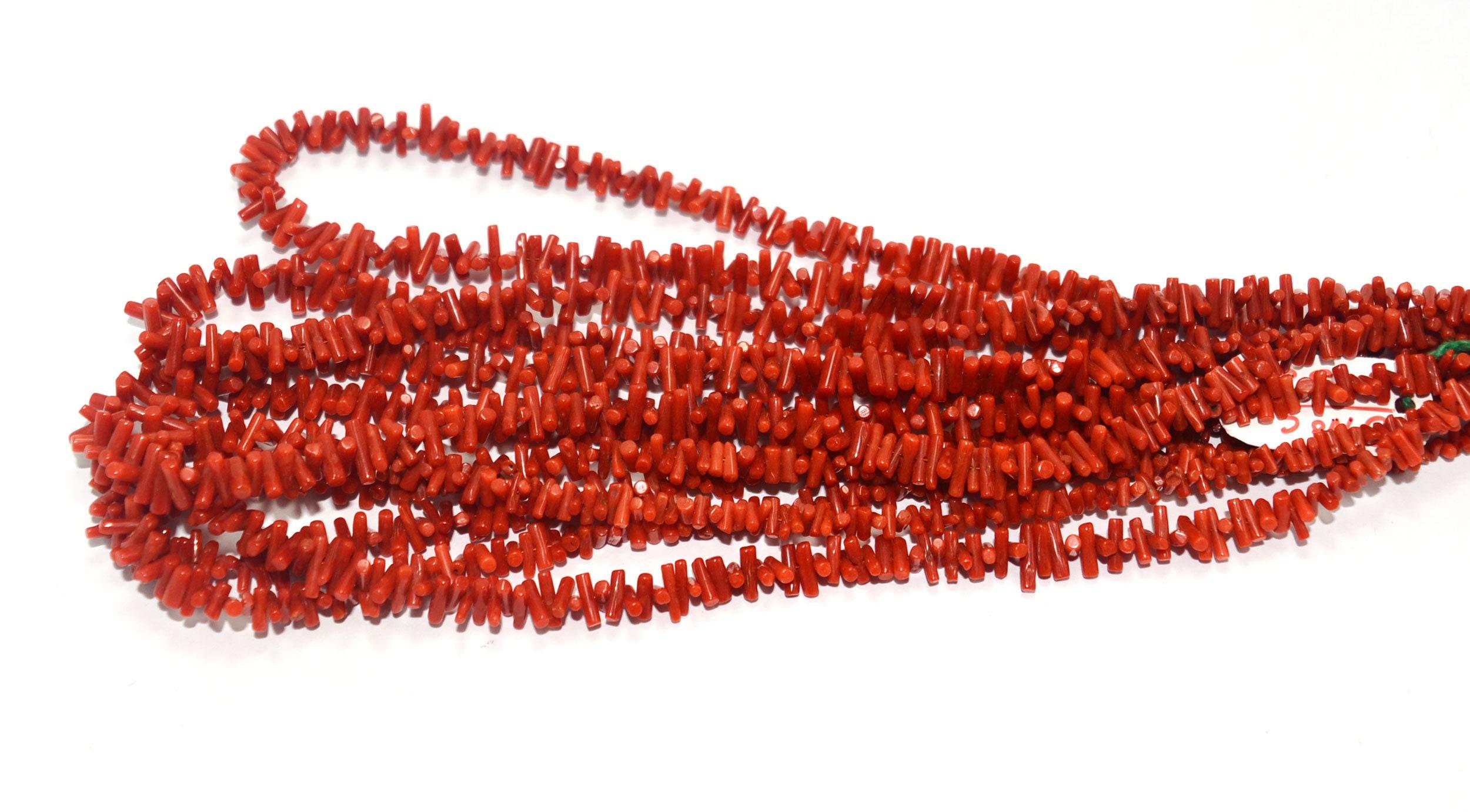 "Natural Green Coral Gemstone Chip Loose Beads 15/"""