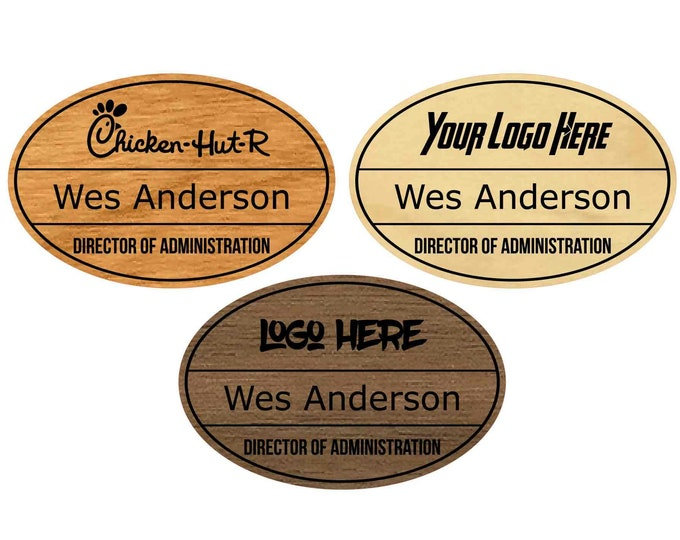 Wood Oval Name Tags with Logo (Oval), Laser-engraved on Your Choice of Real Wood, Branded Name Tag, Magnetic Name Tags, Logo Name Tag