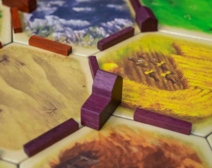 Natural Exotic Wood Settlers of Catan Pieces, Replacement Catan Player Pieces - Includes Roads, Catan Cities & Settlements Game Pieces