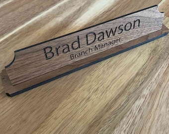 "8"" x 1.75"" 100% Real Wood Desktop Nameplate"