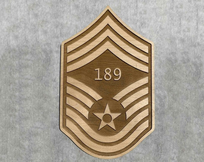 Wood Chief Master Sergeant Air Force Promotion Gift, USAF CMSgt Promotion Stripes Engraved with Line Number