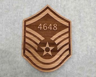 Wood Master Sergeant Air Force Promotion Gift, USAF MSgt Promotion Stripes Engraved with Line Number
