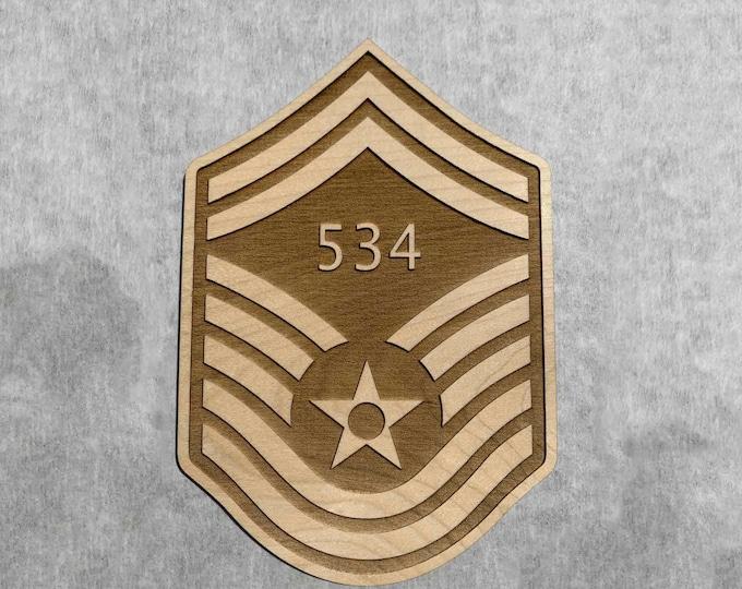 Wood Senior Master Sergeant Air Force Promotion Gift, USAF MSgt Promotion Stripes Engraved with Line Number