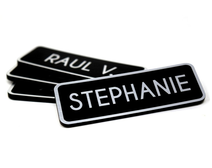 """Coffee Shop Name Tags with Brushed Aluminum Name Tag Face (Inverted), 2.5"""" x 1"""" Magnetic Silver Name Tag"""