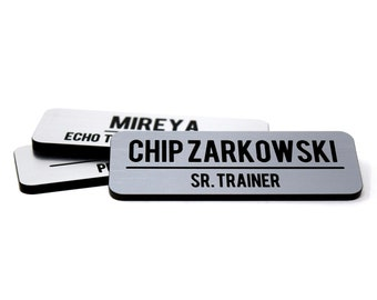 """Silver Name Tags with Title or Company Name and Brushed Aluminum Face, 2.5"""" x 1"""" Magnetic Name Tag"""