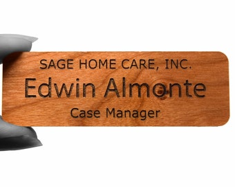 "3"" x 1"" Name Tags with Real Wood Face"