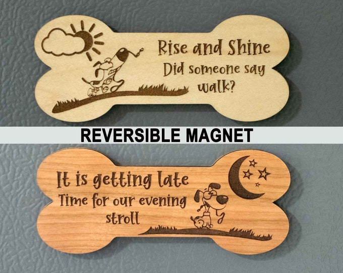 Reversible AM/PM Dog Walk Magnet to Indicate When The Dog Was Last Walked, Dog Walking Schedule Indicator