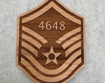 Wood Personalized USAF Promotion Stripes with Line Number, Engraved Memento/Gift for Air Force SSgt TSgt MSgt SMSgt CMSgt