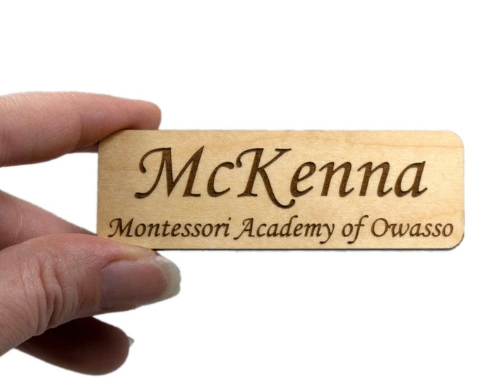 """3"""" x 1"""" Name Tags with Real Wood Face"""