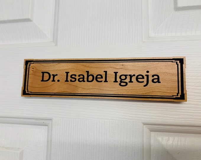 """Wood  Office Door Sign Nameplate,  8"""" x 2"""" Personalized Magnetic or Adhesive Wood Sign For Door, Wall, etc."""